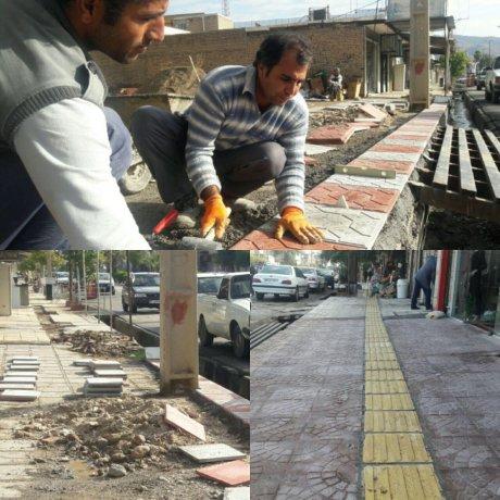 موزائیک فرش پیاده روی خیابان هفت تیر توسط شهرداری پلدختر